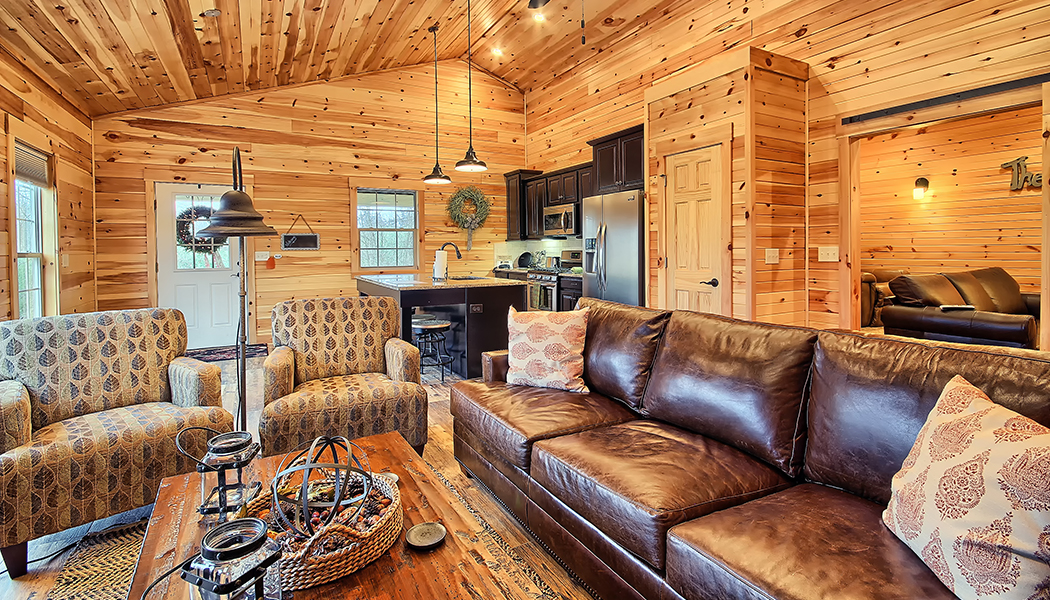 Bourbon Ridge Retreat | Bookers cabin living room